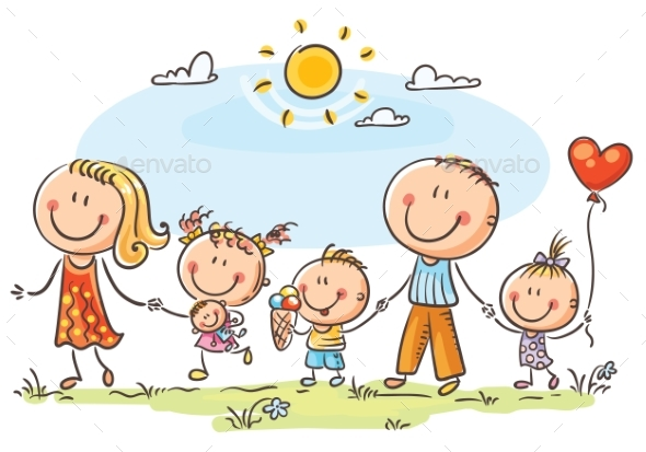 Happy Family with Three Children Walking Outdoors