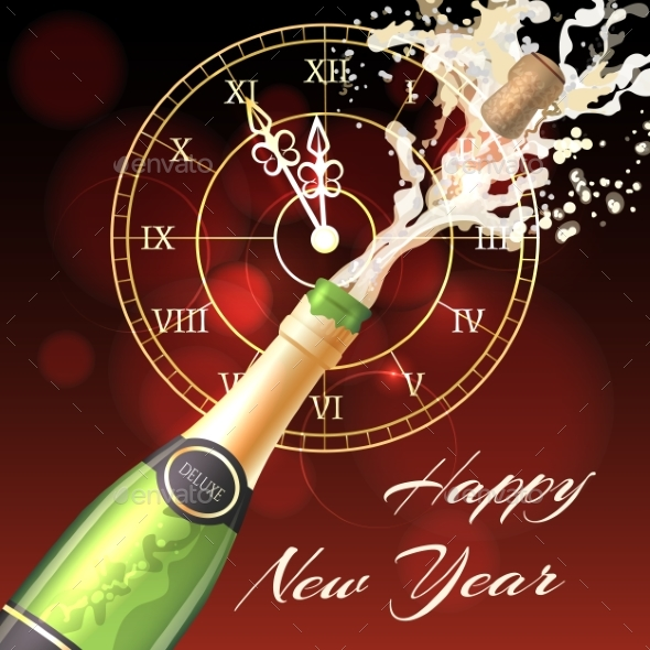Happy New Year Champagne Poster