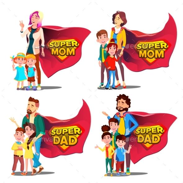 Super Dad and Super Mom Vector