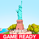 Low Poly Statue Of Liberty Scene - 3DOcean Item for Sale