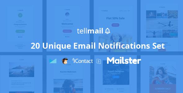 tellmail - 20 Unique Responsive Email Set + Online Access