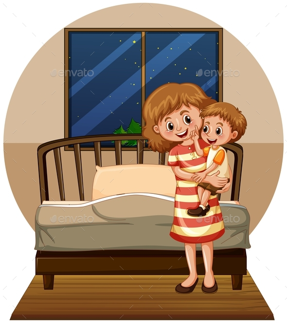 Mother and Son in Bedroom