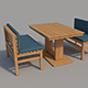 Wooden benches and table - 3DOcean Item for Sale
