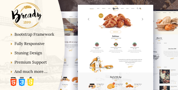 Bready - Bakery, Cakery & Food Template
