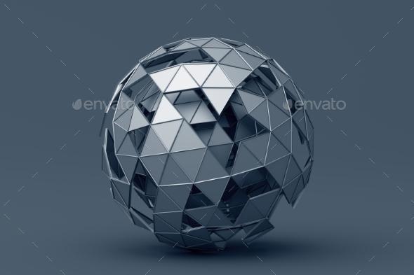 Abstract 3D Rendering of Polygonal Sphere