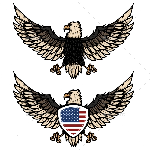 Illustration of Eagle with American Flag