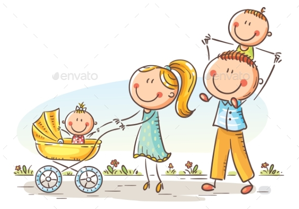 Happy Family with Two Children Walking Outdoors