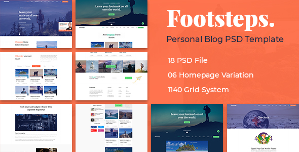 Footstep Personal Blog PSD Template