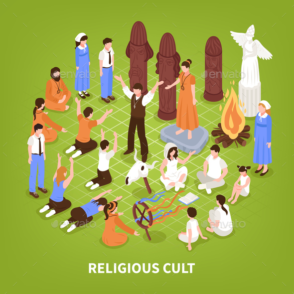 Isometric Religious Cult Background