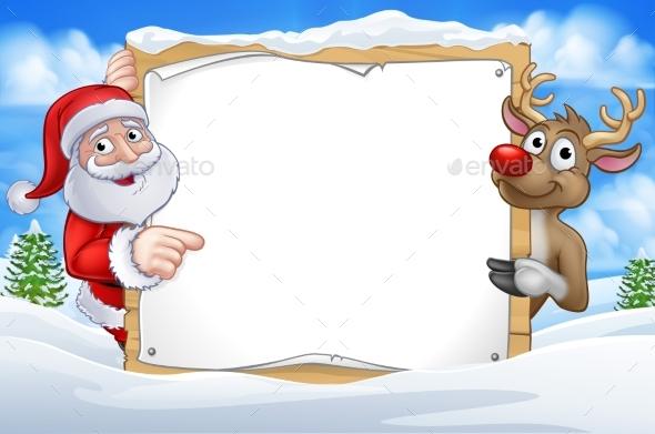 Santa and Reindeer Christmas Cartoon Sign
