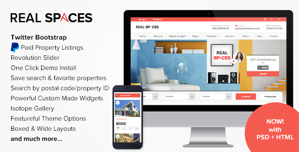 Real Spaces - WordPress Properties Directory Theme Download
