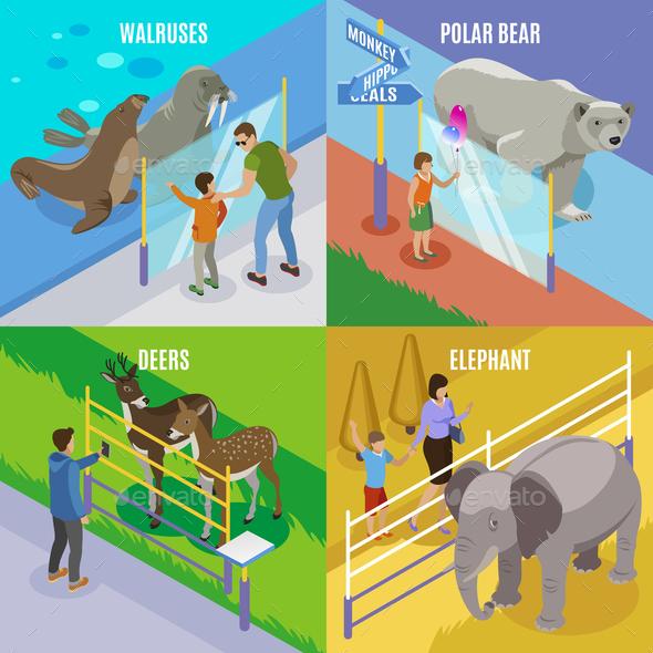Zoo Animals Isometric Design Concept