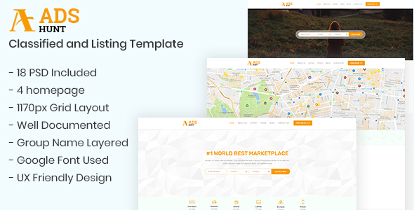 ADSHUNT – Classified and Listing Template