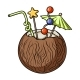 Coconut Cocktail Icon in Cartoon Style Isolated - GraphicRiver Item for Sale