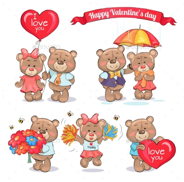 Happy Valentines Day Teddy Bear Couples in Love