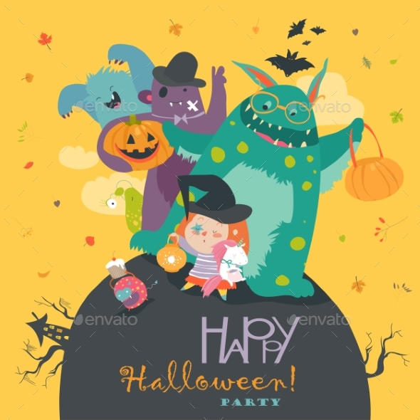 Girl with Monsters Halloween Party