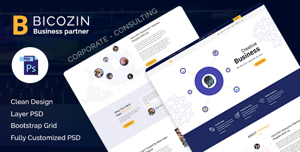 Bicozin – Business & Consulting PSD Template