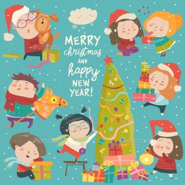 Happy Cartoon Children with Christmas Decor