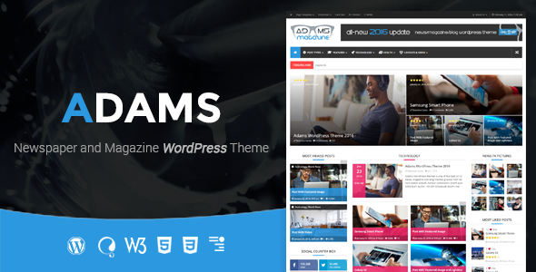 Adams – Responsive Retina WordPress News, Magazine, Blog Free Download