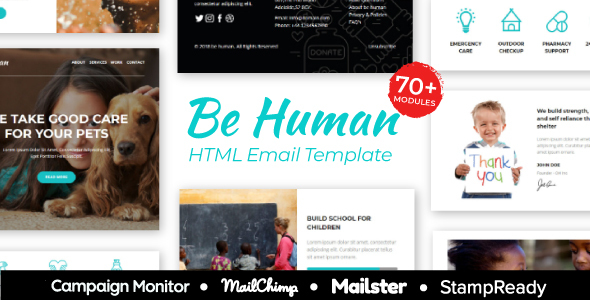 BeHuman - Multipurpose Responsive Email for Non Profit - StampReady Builder + Mailster & Mailchimp