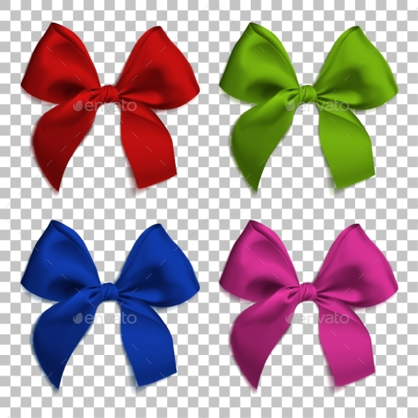 Realistic Bows and Ribbon Isolated
