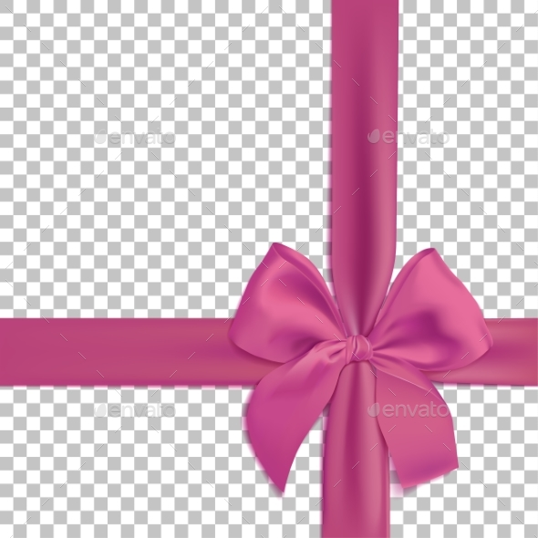 Realistic Pink Bow and Ribbon Isolated