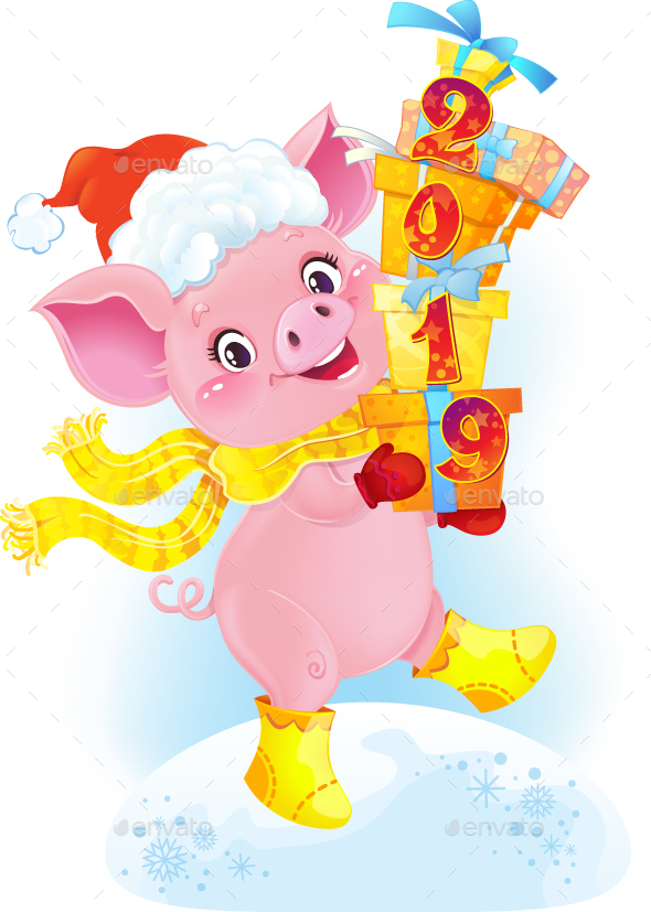 Yellow Earthy Pig with Gift Boxes