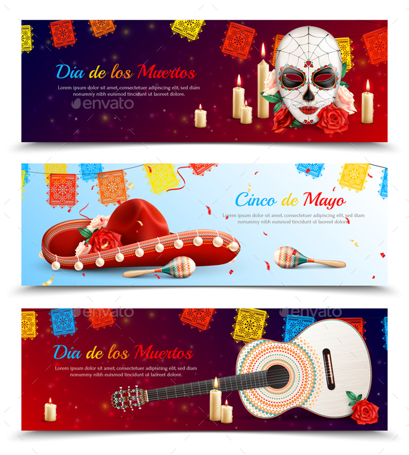 Mexican Holidays Banners Set