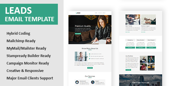Leads - Multipurpose Responsive Email Template with Online StampReady & Mailchimp Editors