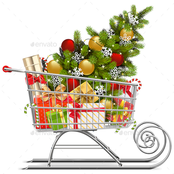 Vector Supermarket Sleigh with Christmas Decorations
