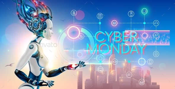 Cyborg Woman Show Hologram with Text Cyber Monday