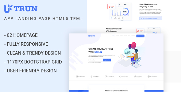 UTRUN - Software, App Landing page HTML5 Template