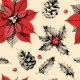 Seamless Pattern with Holly Leaves and Poinsettia - GraphicRiver Item for Sale