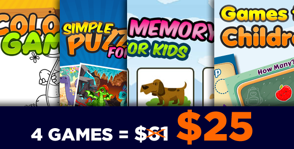 Game for Kids Bundle 4 Games - HTML5 Game (CAPX)