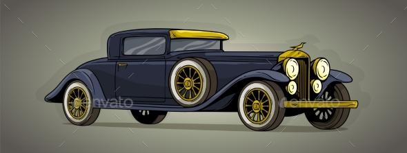 Cartoon Retro Vintage Luxury Car Vector Icon