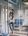 Pretty girl posing in a metro car - PhotoDune Item for Sale