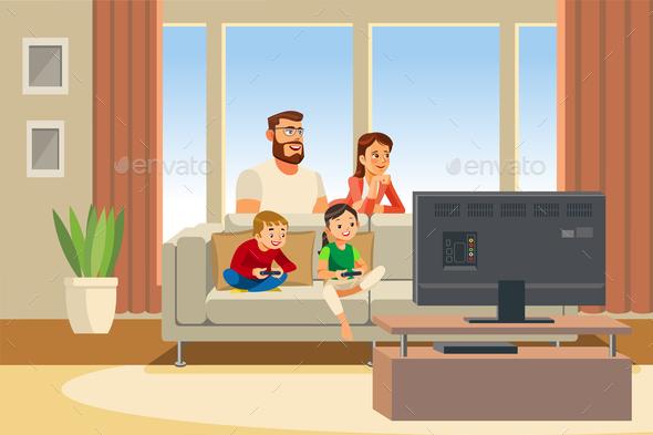 Family Day Cartoon Vector Illustration