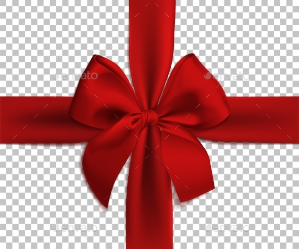 Realistic Red Bow and Ribbon Isolated