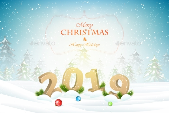 Christmas and New Year Typography Greetings