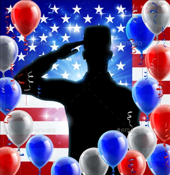 Saluting Soldier American Flag Balloon Design