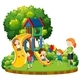 Mother and Children at Playground - GraphicRiver Item for Sale