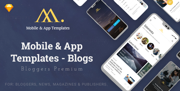 Mobile & App Templates - Blogs in Sketch