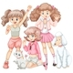 Group of Girls and Pets - GraphicRiver Item for Sale