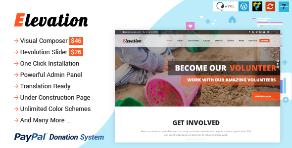 ELEVATION - Charity/Nonprofit/Fundraising WP Theme