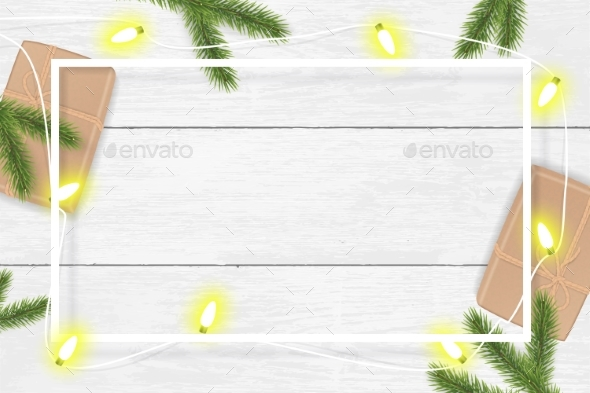 Christmas and New Year Vector Background with Fir