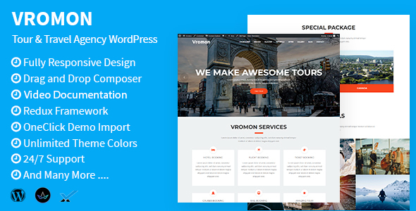 Vromon - Tour & Travel Agency WordPress Theme