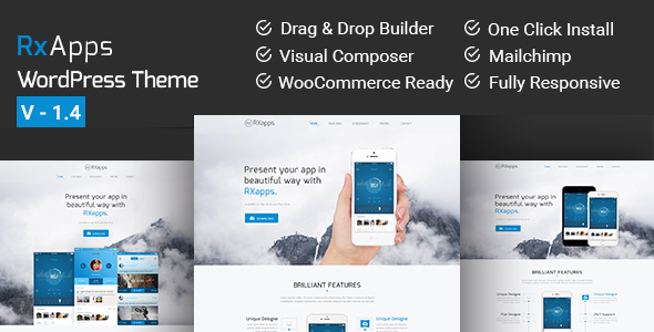 RxApps - Responsive WordPress App Landing Page