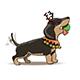 New Year Cartoon Dachshund Puppy Santa Deer - GraphicRiver Item for Sale