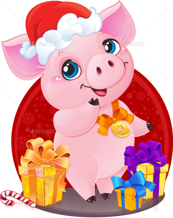 Little Piglet with Christmas Gifts for the New Year 2019