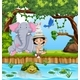 Girl Scout With Animals in Forrest - GraphicRiver Item for Sale